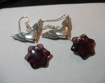 Wing and a prayer earrings, Judaica, silver, vintage purple glass  Judaica on etsy, etsyBead, OlympiaEtsy, WWWG, trashionteam