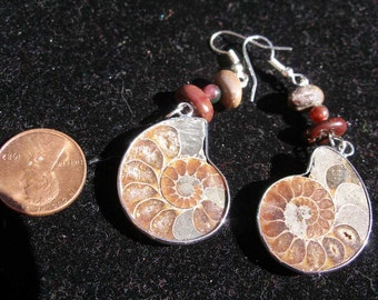 Ammonit fossil earrings, stone beads   SupportingArtists, FunkyAlternativeJewelry, WWWG, OlympiaEtsyTeam, etsyBuddhists, etsyBead