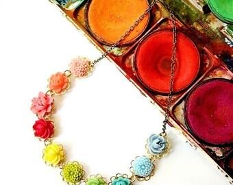 Little Color Wheel Flower Necklace