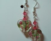 Heart Earrings Glass Bead with Pink Core and Indian Pink Swarovski Accent silver Accents silver