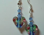 Heart Earrings Glass Bead with Blue Core and  Sapphire Swarovski Accent silver