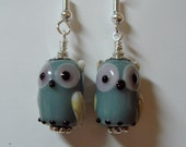 Grey Gray Opaque Lampwork Glass Owl Bird Earrings  on Silver   Whooo Can possibly be without these