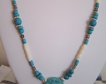 Turquoise Blue Greek Ceramic Cat Necklace and earrings