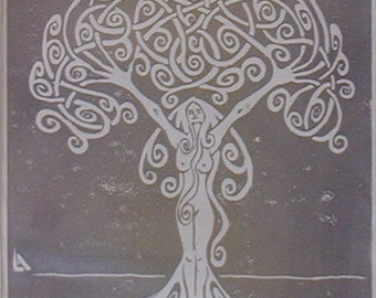 Dryad - Tree Woman - Silver on White - Hand-Printed - Unframed