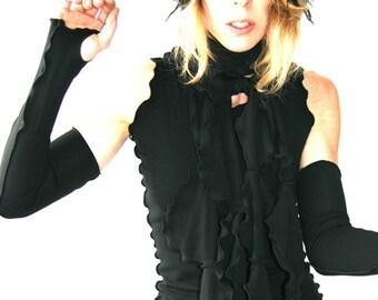 THUMBHOLE WARMERS  black gloves, best selling, trending item, handmade, unique, ruffled, treehouse28, yoga clothing, womens accessory