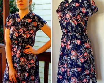 Tokyo Spring 1970's Vintage Navy Blue Tunic Dress with Pink Flowers and Light Blue Bakelite Buttons