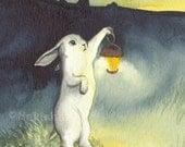 Lantern - Fine Art Rabbit Print -Limited Edition