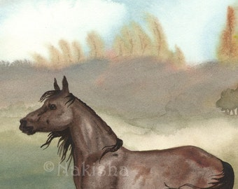 Autumn Arabian - Original Watercolor Horse Painting