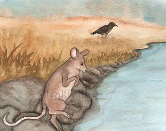 Original Watercolor Animal Painting - Mouse and the Cold Water