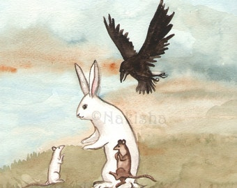 Original Watercolor Rabbit Painting - Meeting the White Mouse