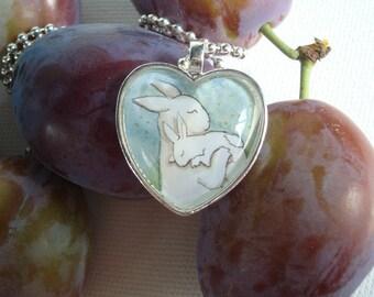 Bunny Hug - Heart Shaped  Rabbit Pendant