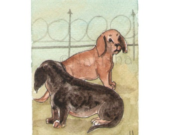 The BlueDogRose Tarot - Original Art - Two of Dogs