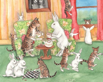 Tea with the Tabbies - Archival Fine Art Print