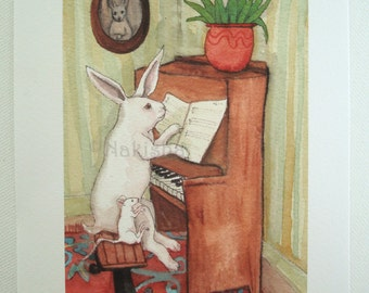 Archival Fine Art Animal Print - The Piano Lesson - Nursery or Children's room Art