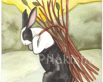 The Rabbit Tarot - Original Art  - Nine of Sticks