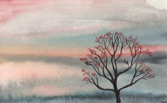 RESERVED for LS  - Original Watercolor Tree Painting - Together at Sunset
