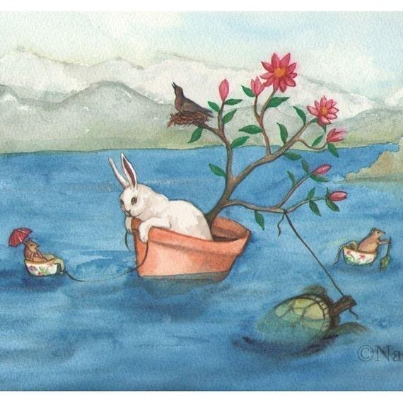 Limited Edition Fine Art Rabbit Print - Crossing the Lake