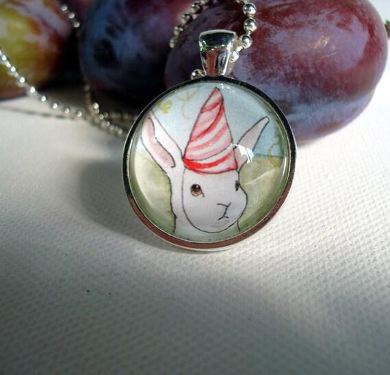 Party Hat  -  Round  Rabbit  Pendant