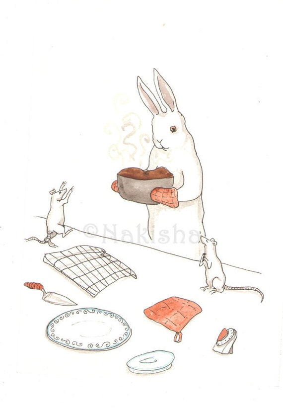 Out of the Oven - Original Watercolor Rabbit Illustration