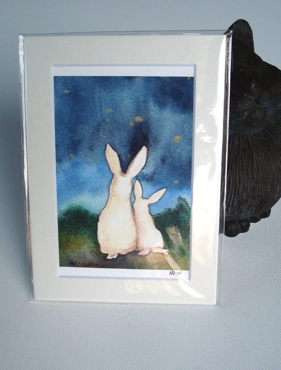 Star Gazing -  Fine Art Print - Small Size - Rabbit Art