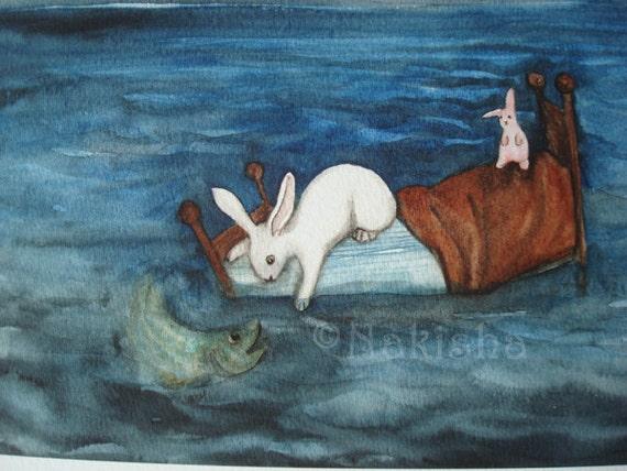 Archival Fine Art Animal Print - Bed as a Boat- Nursery or Children's room Art
