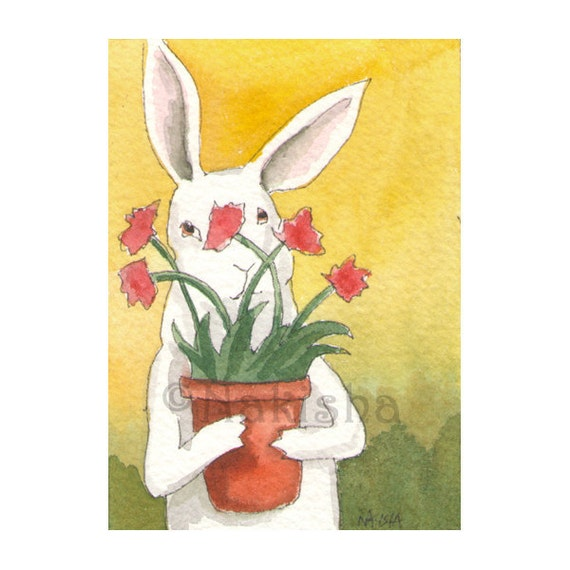 Original Watercolor Rabbit Painting - Flower Pot - ACEO