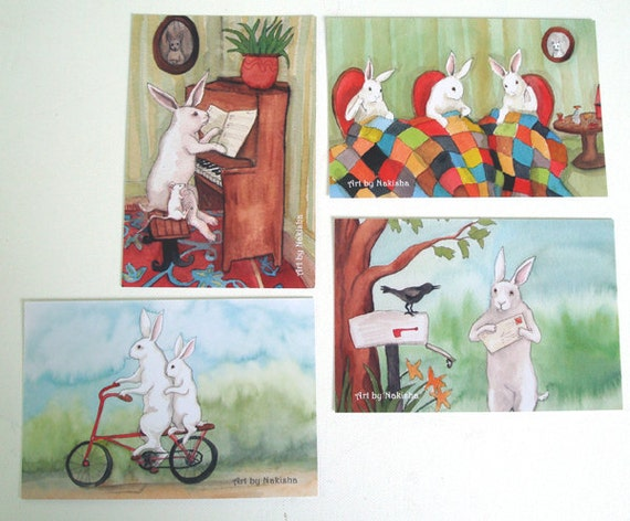 Art Postcards - Busy Rabbits - Set of  Eight