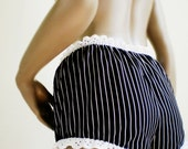 Black Pinstripe Bloomers Short Black And White Striped All Cotton White Eyelet Lace Trim Mini Bloomers MADE TO ORDER