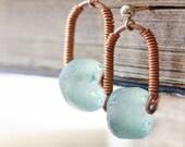 Light Blue aquamarine earrings earrings, recycled glass post earrings, stud earrings