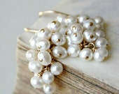 pearl earrings, white bridal jewelry, gold freshwater pearl cluster dangle, gift for wife mom