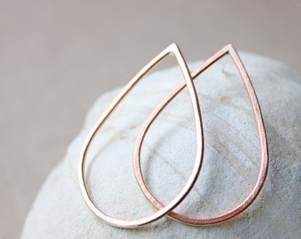 copper teardrop earrings, big teardrop hoops, sterling silver post earrings