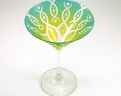 Vesuvian Flower Martini Glass - Etched and Painted Glassware - Custom Made to Order