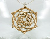 Wood Pendant - Laser Cut - Celtic Star - Natural Alder Wood