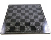 Celtic Knot Chessboard - Etched into Polished Black Granite - Original Celtic Knot Work by Jeffrey Woods