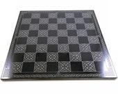 Celtic Knot Chessboard or Go / Pente Board - Black Granite - Etched Original Celtic Knot Work by Jeffrey Woods