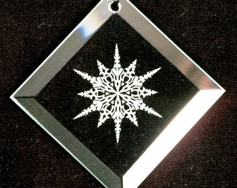 Etched Glass Ornament - Snowflake 1 - Beveled Glass Ornament - Ready to Ship