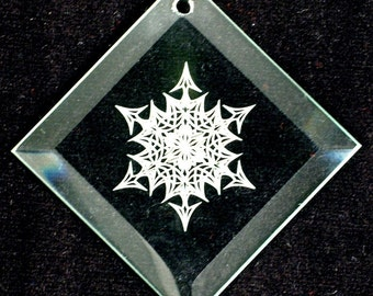 Etched Glass Ornament - Snowflake 6 - Beveled Glass Ornament - Ready to Ship
