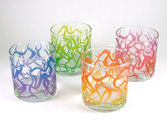 Chaos Weave Lowball Tumblers - Etched and Painted Glassware - Custom Made to Order