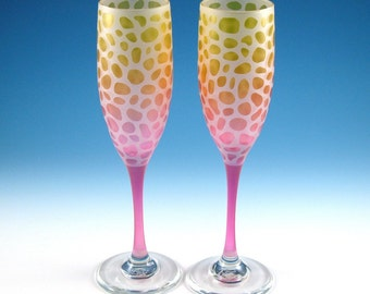 River Rocks - Champagne Flutes - Frosted Style - Etched and Painted Glassware - Custom Made to Order