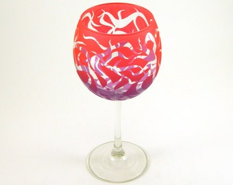 Chaos Weave Wine Glass - Etched and Painted Glassware - Custom Made to Order