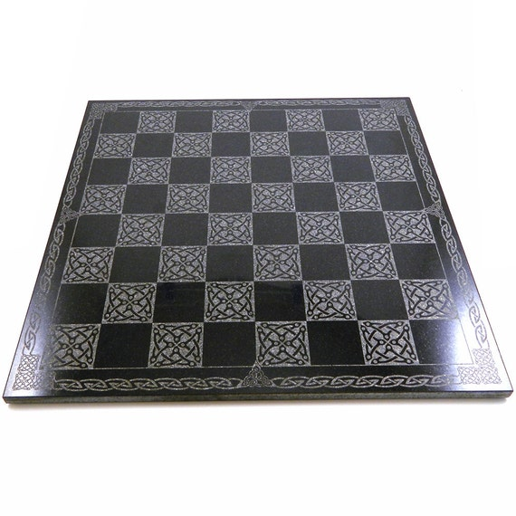 Celtic Knot Chessboard - Polished Black Granite with Etched Celtic Knot Work - Ready to Ship