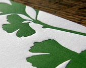 Green Ginkgo: Letterpress Flat Cards & Envelopes (6ct)
