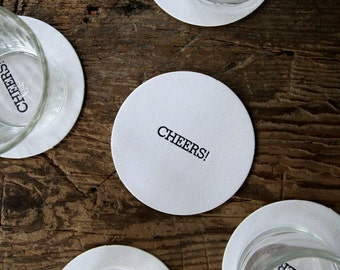 Cheers: letterpress pub coasters (set of 10)