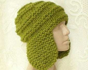 Green earflap hat trapper cap, beanie hat, citrus kiwi green hat, winter hat, knit toque, ski snowboard, skateboard, mens womens, chemo cap