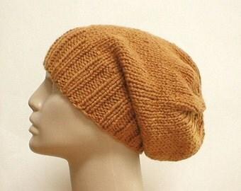 Slouchy hat, mustard goldenrod brass, knit toque, winter hat, ski snowboard, biker runner hiking, skateboard, mens womens hat, chemo cap