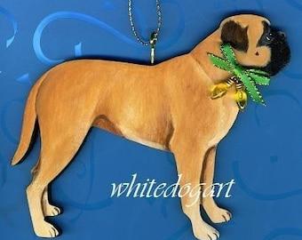 Custom Handpainted Bullmastiff Christmas Ornament