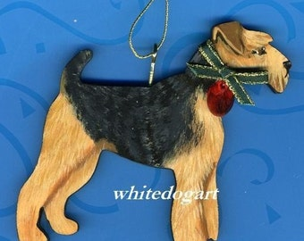 Handpainted Welsh Terrier Christmas Ornament