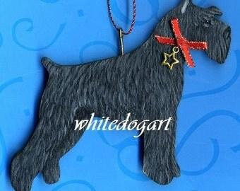 Handpainted Black Schnauzer Christmas Ornament