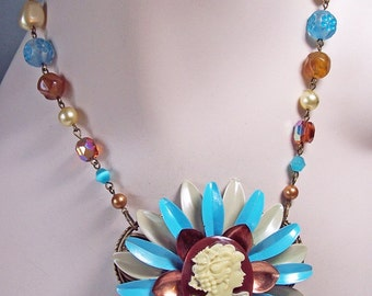 Vintage Cameo Enamel Flower Statement Necklace - OOAK -- Lady Jane -- Neo Victorian