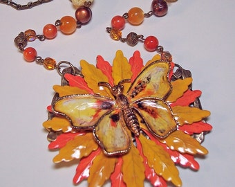 Vintage Enamel Flower Neo Victorian Butterfly Statement Necklace - OOAK -- Autumn Symphony